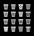 Set icons of trash basket vector