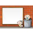 Babies near the wall with an empty signboard vector