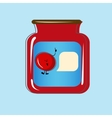 Bank with home canned cherry design vector