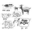 Collection of happy new year design with goat or vector