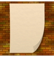 Paper sheet on brick wall vector