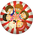 Kids playing inside a circle vector