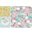 Set of cute patterns with angels in the sky vector