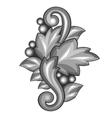 Baroque ornamental antique silver element on white vector