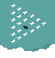 Flock of birds flying in the sky vector