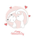 Two cats kissing happy valentines day vector