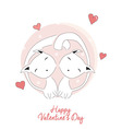 Two cats in love happy valentines day vector