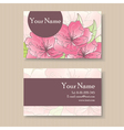 Business card with pink flowers vector