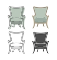 Set of colorfull and silhouette armchairs vector