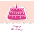 Birthday card with cute cake and candle vector