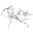 Couple in love cats vector