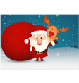 Santa claus and bag with reindeer on winter scene vector
