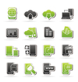 Connection communication and mobile phone icons vector