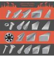 Set of metallurgy icons metal working tools steel vector
