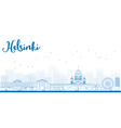 Outline panorama of old town in helsinki vector