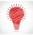 Red sketch bulb design vector