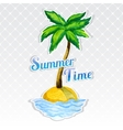 Vocation background with palm tree on island vector