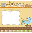 New baby boy announcement card with pram vector