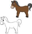 Cartoon horse for coloring vector