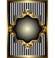 Silver frame with gold decor on striped background vector