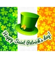 Saint patricks hat on irish flag greeting card vector