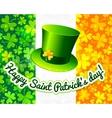 Saint patricks hat on irish flag greeting card vector