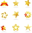 Collection of gold star icons vector