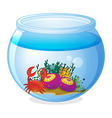 An aquarium with sea creatures vector