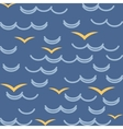 Waves and seagulls in blue colors seamless pattern vector
