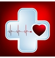 Normal ecg red background heartbeat eps 8 vector