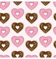 Assorted heart shaped doughnuts vector