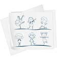A paper with a drawing of kids dancing vector