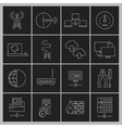 Network icons set outline vector