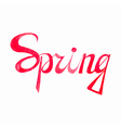 Watercolor calligraphical inscription spring in vector