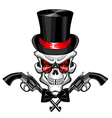 Skull wearing a hat with a pistol vector