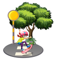 A girl skateboarding near the big tree vector