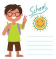 Card with schoolboy vector