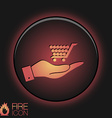 Hand holding a cart online store vector