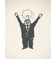 Idea lamp head businessman vector