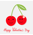 Cartoon cherries with happy faces valentines day vector