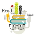 Old man with abstract books on his head vector
