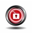 Unlock circular red web button icon vector