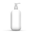 Plastic clean white bottle with dispenser pump vector