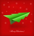 Christmas tree origami airplane vector