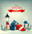 Christmas background with a lantern and presents vector