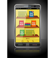 Books on smart phone vector