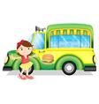 A girl beside a green burger truck vector