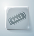 Plate sale glass square icon with highlights vector