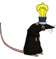 Rat with lamp vector