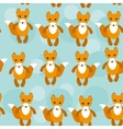 Seamless pattern with funny cute fox animal on a vector